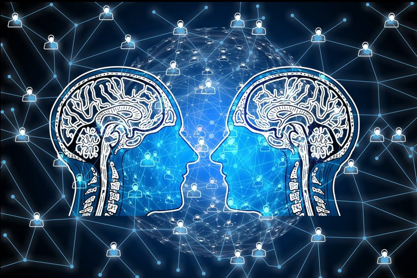 Collaboration - image of two brains connecting