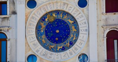 Clock showing signs of the zodiac